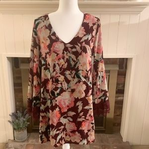 Eight Sixty Floral Bell Sleeve Dress Maroon